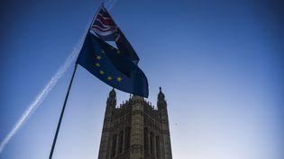 Les drapeaux britannique et européen flottent devant le Parlement britannique, à Londres, le 8 janvier 2019. (ALBERTO PEZZALI / NURPHOTO / AFP)