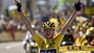 Le Britannique Christopher Froome a remporté la dixième étape du Tour de France, mardi 14 juillet 2015, àLa Pierre Saint-Martin (Pyrénées-Atlantiques). (ERIC FEFERBERG / AFP)