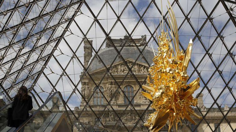 Sculpture de Kohei Nawa installée au Louvre, en juillet 2018  (Thibault Camus/AP/SIPA)