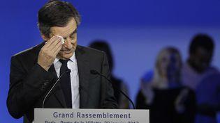 François Fillon lors de son meeting de Villepinte (Seine-Saint-Denis), le 29 janvier 2017. (CHRISTOPHE ENA/AP/SIPA / AP)