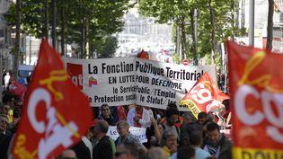 Des agents de la fonction publique lors d'une manifestation à Marseille (Bouches-du-Rhône), le 15 mai 2014. (FREDERIC SEGURAN / CITIZENSIDE / AFP)