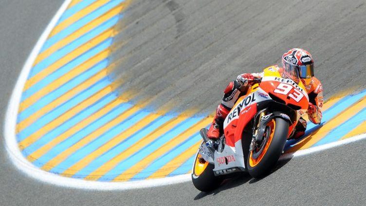 Marc Marquez a posé son empreinte sur les deux premières séances d'essais libres du GP de France.  (JEAN-FRANCOIS MONIER / AFP)