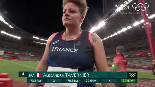 Du chocolat pour Alexandra Tavernier qui termine quatrième de la finale du lancer de marteau (74,41 m) !La Polonaise Anita Wlodarczyk, à 78,48 m, aligne un troisième sacre olympique de suite.