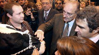 L'ancien chef de l'Etat Jacques Chirac, en déplacement au Salon de l'agriculture, à Paris, le 24 février 2009. (PATRICK KOVARIK / AFP)