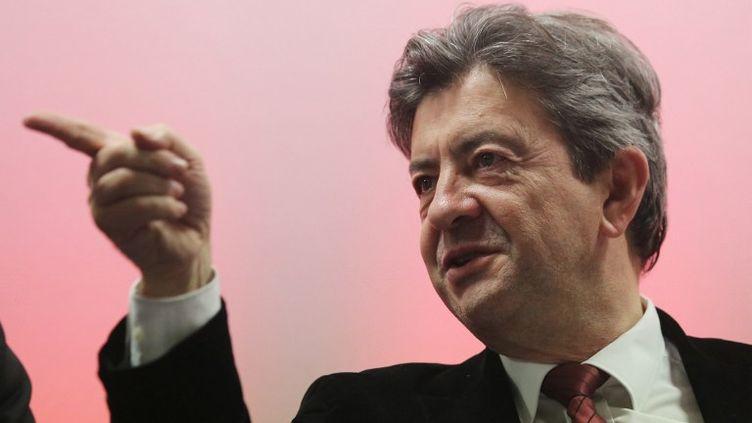 Jean-Luc Mélenchon, coprésident du Parti de gauche, lors d'un meeting à Pau (Pyrénées-Atlantiques), le 13 novembre 2013. (NICOLAS TUCAT / AFP)