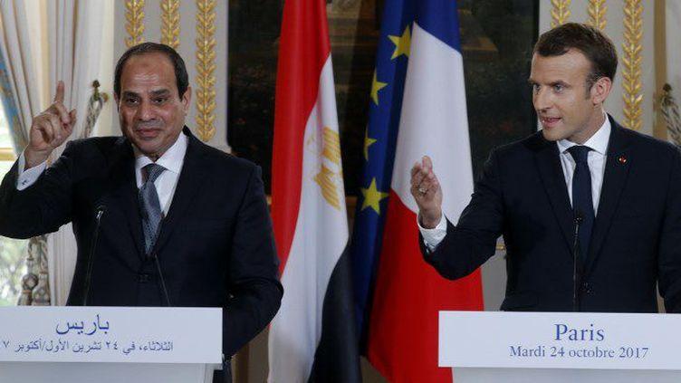 Le président égyptien Abdel Fattah al-Sissi et le président français, Emmanuel Macron, lors d'une conférence de presse à l'Elysée le 24 octobre 2017. (PHILIPPE WOJAZER/POOL/AFP)