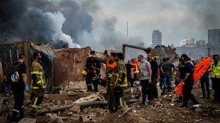 Les secours après les deux explosions qui ont ravagé Beyrouth (Liban), le 4 août 2020. (FADEL ITANI / NURPHOTO)