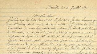 """""""Adieu avenir"""" : lettre autographe de Rimbaud à sa soeur, signée Marseille le 10 juillet 1891. Source :Bibliothèque R. & B. L. VII, XIXe siècle.Vendue chez Sotheby's.  (Sotheby's)"""