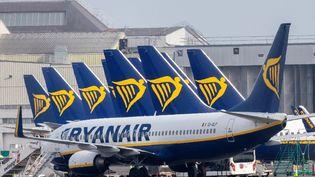 Des avions de la compagnie aérienne Ryanair sur le tarmac de l'aéroport de Dublin (Irlande), le 23 mars 2020. (PAUL FAITH / AFP)