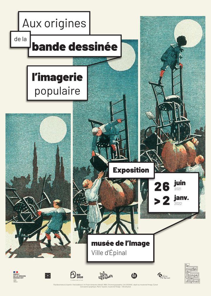 """Affiche de l'exposition""""Aux origines de la bande dessinée l'imagerie populaire"""" présentée au musée de l'Image d'Épinal (Vosges) jusqu'au 2 janvier 2022 (Musée de l'Image d'Épinal)"""