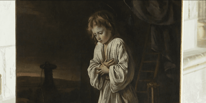 """""""L'Enfant Jésus en adoration de la croix"""" des frères Le Nain, lors de sa présentation au public le 16 mars  (France 3/ Culturebox)"""
