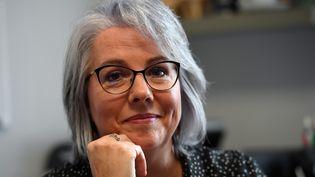 """Jacline Mouraud, ancienne figure du mouvement des """"gilets jaunes"""", à Bohal le 17 novembre 2018. (DAMIEN MEYER / AFP)"""