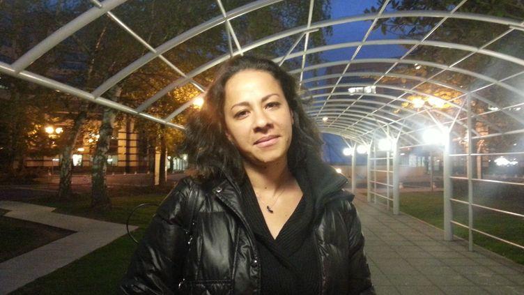 Erika, le 7 octobre 2015, près du siège d'Air France, à Roissy. (YANN THOMPSON / FRANCETV INFO)