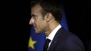 Emmanuel Macron à Goyave (Guadeloupe), vendredi 28 septembre 2018. (THOMAS SAMSON / AFP)