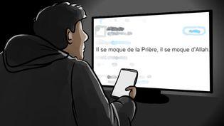 Le 25 septembre 2020, Anzorov se met en chasse, cherchant clairement des cibles sur Twitter, des personnes qui, selon lui, ont insulté l'islam et le prophète, et qu'il pourrait punir. (NICOLAS DEWIT / RADIO FRANCE)