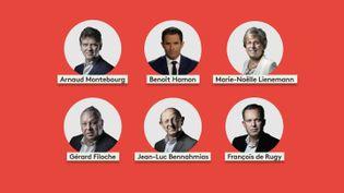 Les six candidats jusqu'ici déclarés à la primaire de la gauche. (FRANCEINFO)