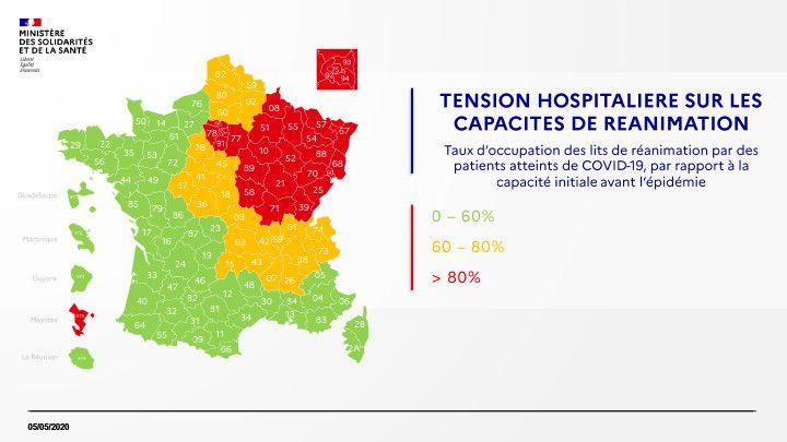 Carte de la tension hospitalière en réanimation, le 5 mai 2020. (DGS / FRANCEINFO)