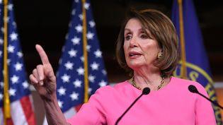 Nancy Pelosi, la présidente démocrate de la Chambre des représentants, lors d'une conférence de presse, à Washington (Etats-Unis), le 23 mai 2019. (MANDEL NGAN / AFP)