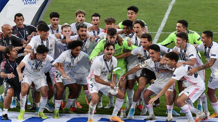 Le Real Madrid avait remporté la dernière édition de la Youth League, le 25 août 2020 à Nyon (Suisse). (FABRICE COFFRINI / AFP)