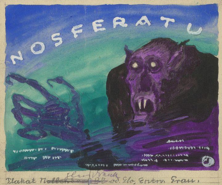 Albin Grau* (1884-1971) Nosferatu 1922 Aquarelle sur carton 16 × 19 cm Trogen, Kantonsbibliothek Appenzel Ausserrhoden CMO-59-1-A-32-0504S  (DR)