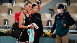 La joueuse de tennis française Kristina Mladenovic après sa défaite à Roland Garros, le 29 septembre 2020. (ROB PRANGE / SPAINDPPI / AFP)