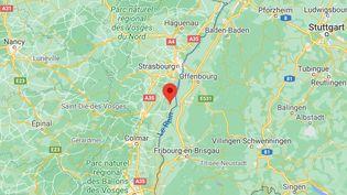 """La ville deBoofzheim (Bas-Rhin), où un jeune homme est mort, """"la tête arrachée"""" par unmortier d'artifice dans la nuit du 31 décembre 2020 au 1er janvier 2021. (GOOGLE MAPS)"""