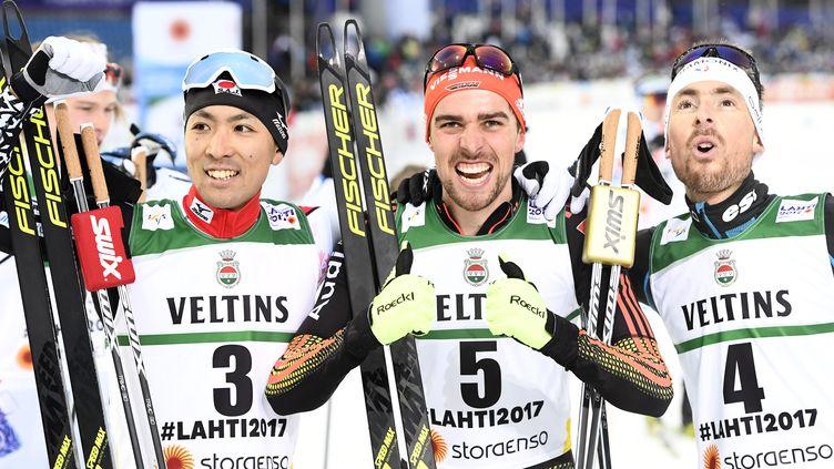 François Braud, avec les autres membres du podium. (JONATHAN NACKSTRAND / AFP)