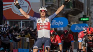 Jasper Stuyven remporte Milan-San Remo, samedi 20 mars 2021 (TOMMASO PELAGALLI / AFP)