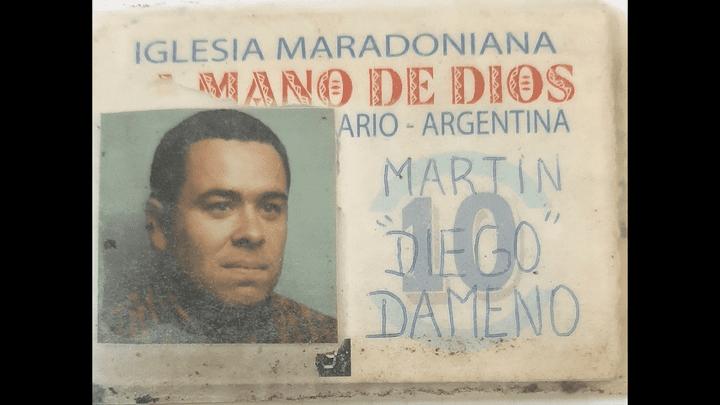 La carte de membre de l'Eglise Maradonienne de Martin Dameno