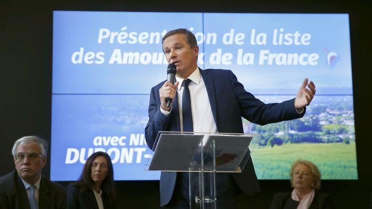 Nicolas Dupont-Aignan, le 28 mars 2019 à Paris, lors de la présentation de sa liste. (AFP)
