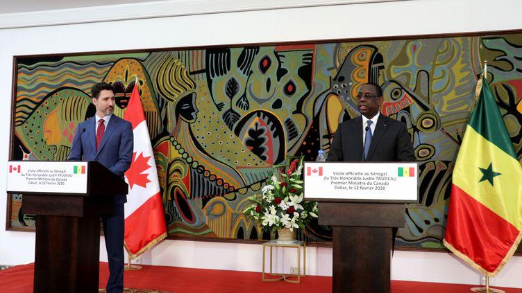 Le Premier ministre canadien Justin Trudeau et le président sénégalais Macky Sall à Dakar, le 12 février 2020. (ALAATTIN DOGRU / ANADOLU AGENCY)