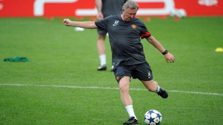 Alex Ferguson, entraîneur de Manchester United, à l'entraînement.