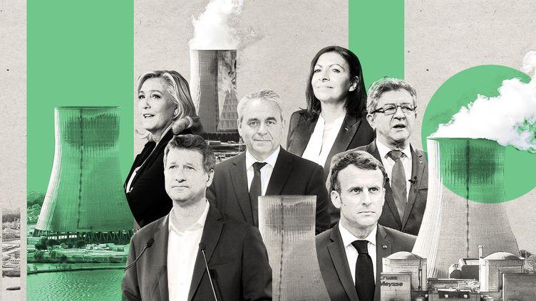 Une grande partie des candidats àl'élection présidentielle se sont récemment prononcés sur l'avenir du nucléaire français. (MONTAGE : JESSICA KOMGUEN. CREDITS : AFP, GETTY IMAGES)