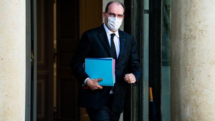 Le Premier ministre Jean Castex quitte l'Elysée, à Paris, le 24 mars 2021. (XOSE BOUZAS / HANS LUCAS / AFP)