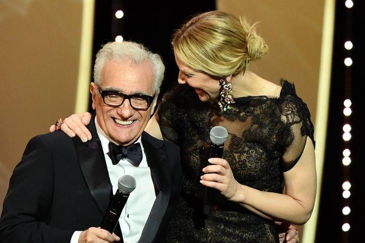 Martin Scorsese et Cate Blanchett en coeur ont déclaré ouvert le 71e Festival de Cannes.  (Alberto PIZZOLI / AFP)