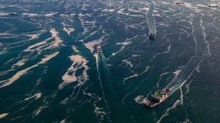 Des bateaux au large de la mer de Marmara (Turquie), le 12 juin 2021. (YASIN AKGUL / AFP)