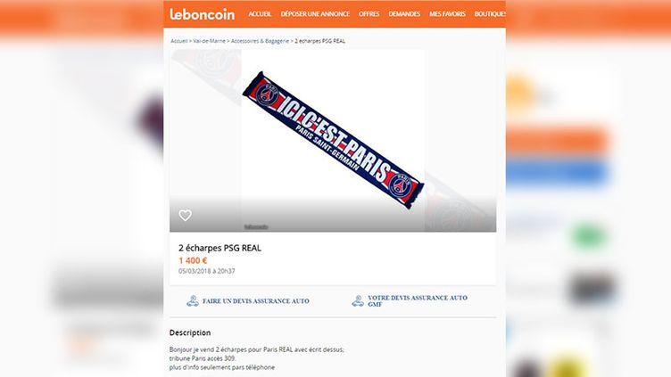 Une capture d'écran du site internet Leboncoin.fr, le 5 mars 2018, à la veille du match entre le PSG et le Real Madrid, en Ligue des Champions de football. (CAPTURE ECRAN / FRANCEINFO)