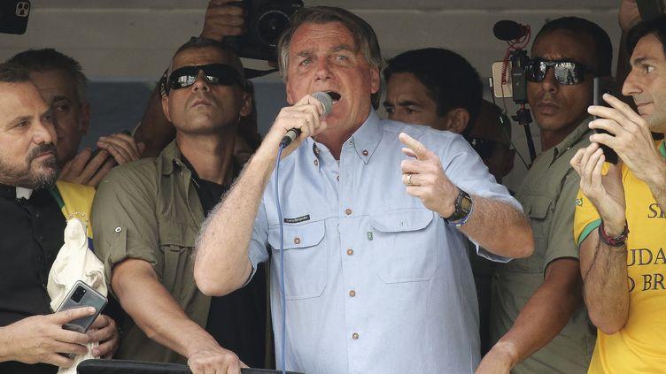 Le président brésilien, Jair Bolsonaro, le 7 septembre 2021 à Sao Paulo. (PAULO LOPES / AFP)