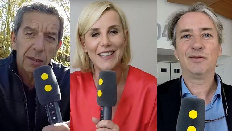 Michel Cymes, Laurence Ferrari et Nicolas Poincaré, en mai 2017. (FRANCEINFO)