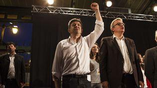Jean-Luc Mélenchon, coprésident du Parti de gauche (à g.), et Pierre Laurent, secrétaire national du Parti communiste, le 5 juin 2013 à Rennes (Ille-et-Vilaine). (F.LEPAGE / SIPA)