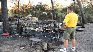 Un homme regarde les dégâts dans le camping deBagnols-en-Foret (Var) après un incendie ayant provoqué l'évacuation de 10 000 campeurs, mardi 28 juillet 2015. (BORIS HORVAT / AFP)
