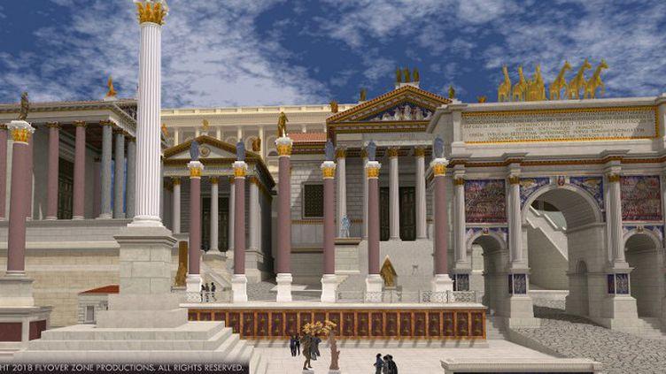 """Une vue de la Rome antique virtuelle """"Rome Reborn"""" (""""Renaissance de Rome"""")  (HANDOUT / ROME REBORN VIRTUAL REALITY PROJECT / FLYOVER ZONE PRODUCTIONS / AFP)"""