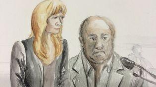 Béatrice Legrain et Dodo la Saumure, au tribunal correctionnel de Lille, jeudi 5 février 2015. Tous les deux sont renvoyés pour proxénétisme aggravé. (ELISABETH DE POURQUERY / FRANCETV INFO)