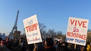 Des participants à la Marche des femmes organisée au lendemain de l'investiture de Donald Trump à Paris le 21 janvier 2017. (ALAIN JOCARD / AFP)