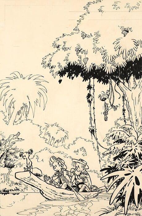 Recueil Spirou n°49, La Pirogue. Encre de Chine, crayon bleu et mine de plomb sur papier pour la couverture du Recueil Spirou n°49 publié le 1er avril 1954 aux éditions Dupuis. Dessin sur papier contrecollé sur carton. (ARTCURIAL)
