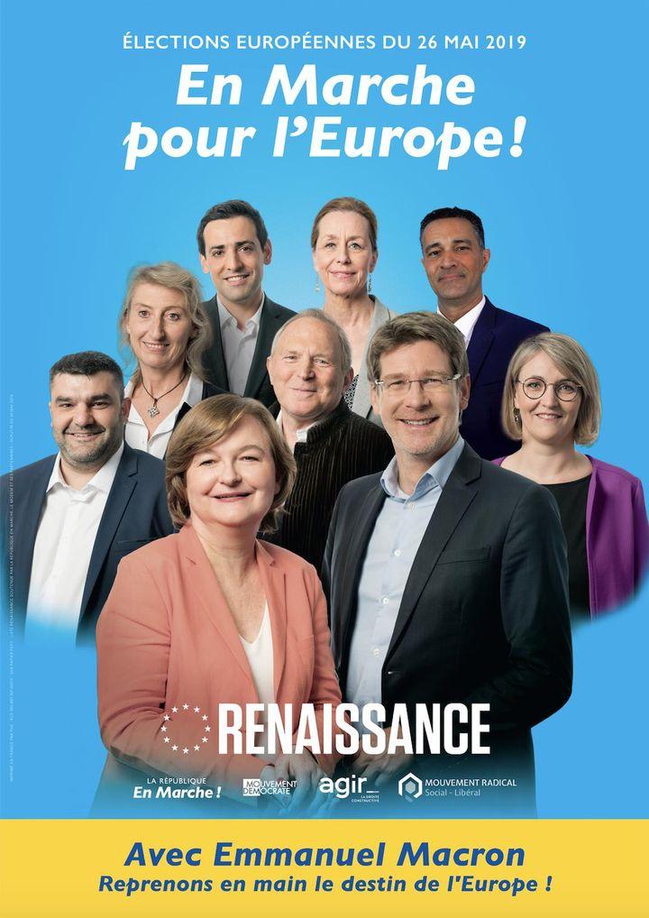L'affiche de la listeLaRépublique en marchepour les européennes 2019. (FRANCEINFO)
