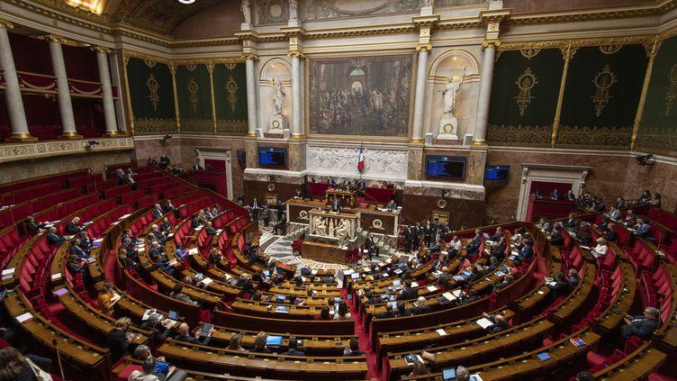 Une vue générale de l'hémicycle lors de l'ouverture des débats sur la réforme des retraites, lundi 17 février 2020 à l'Assemblée nationale. (DOMINIQUE BOUTIN / SPUTNIK / AFP)