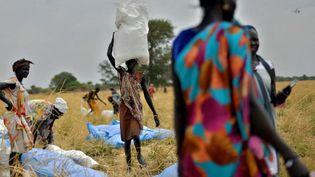 Des villageois récupèrent des aides alimentaires duProgrammealimentaire mondial, le 6 février 2020, dans le village d'Ayod (Soudan du Sud). (TONY KARUMBA / AFP)