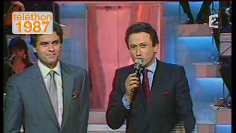 (Claude Sérillon et Michel Drucker. Téléthon 1987© France Télévisions)