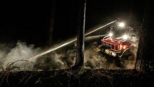Les pompiers ont lutté contre les flammes dans la nuit du 25 au 26 juillet, deuxième nuit consécutive, à Saint-Jean-d'Illac (Gironde). (MAXPPP)